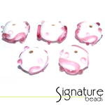 White Rondelles with Raised Pink Design - Packet of 5