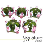 Peridot Rondelles with Raised Pink and White Design - Packet of 5
