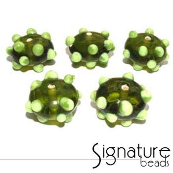 Peridot Sputnik Rondelles with Raised Lime Green Spots - Packet of 5