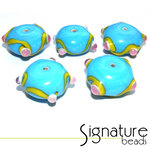 Blue Rondelles with Raised Yellow Design and Pink Spots - Packet of 5