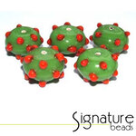 Lime Green Sputnik Rondelles with Raised Red Spots - Packet of 5