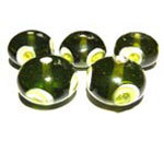 Peridot Rondelles with White and Peridot Eye - Packet of 5