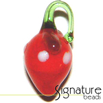 Delicious Lampwork Strawberry Fruit Glass Bead