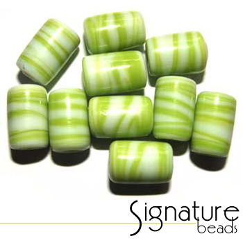 Swirly Peridot and White Glass Tube Beads