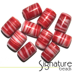Swirly Red and White Glass Tube Beads
