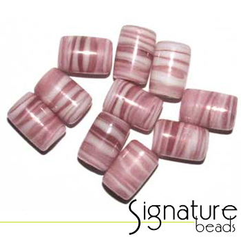 Swirly Pink and White Glass Tube Beads