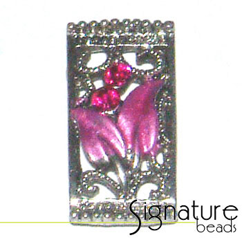 Fuchsia Pink 2-strand Metal Slider with Floral Design