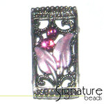 Purple 2-strand Metal Slider with Floral Design
