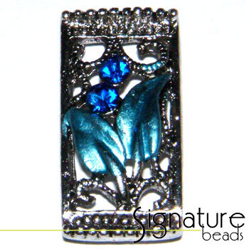 Blue 2-strand Metal Slider with Floral Design