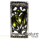 Olive Green 2-strand Metal Slider with Floral Design