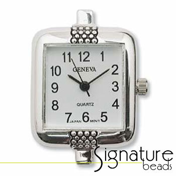 Silver Rectangular Watch Face with Dots