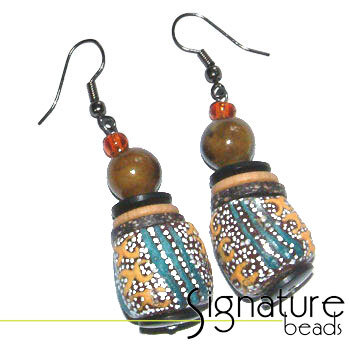 Hand-made African Krobo Bead Earrings in Earth Tones