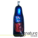 Unique Dichroic Glass Pendantwith black, blue, cherry and pink tones
