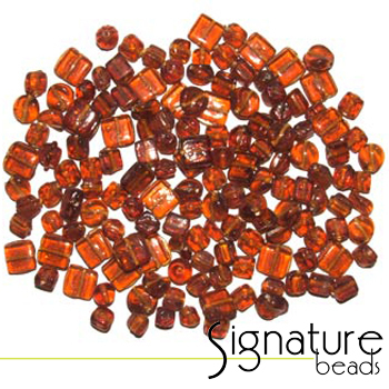 Dark Topaz Transparent Glass Beads