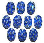 Gorgeous Blue Oval Millefiori Beads with Yellow and White Flowers