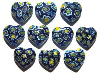 Gorgeous Dark Blue Heart Millefiori Beads with Yellow and White Flowers