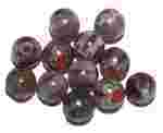 Lovely Amethyst Round Millefiori Beads with Peridot and Red Flower