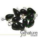 Transparent Dark Green Pendant Drops with Silver Loop
