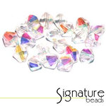 Crystal with AB Finish 6mm Czech Glass Crystal Bicones