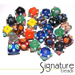 Colourful Lampwork Chinese Eye Cube Signature Glass Bead Mix