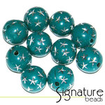 Green 12mm Round Acrylic Beads with Silver Stars