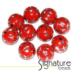 Red 12mm Round Acrylic Beads with Silver Stars