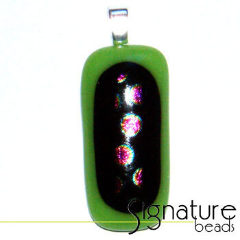 Unique Dichroic Glass Pendant with lime green, black and pink tones