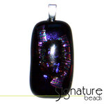 Unique Dichroic Glass Pendant with black, pink and purple tones