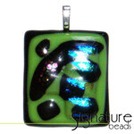 Unique Dichroic Glass Pendant with black,lime green, pink and blue tones