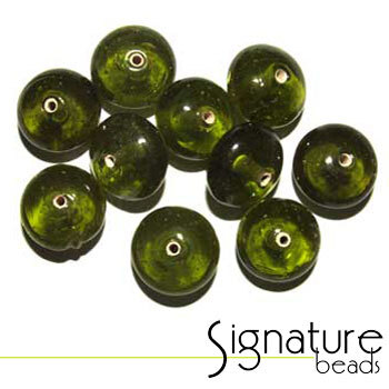 Green Glass Rondelle Beads
