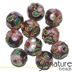 8mm Round Burgundy Cloisonne Beads