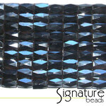6 x 8mm Faceted Magnetic Hematite Barrel beads