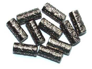 Metallised Plastic 18mm x 8mm Cylinders Bead