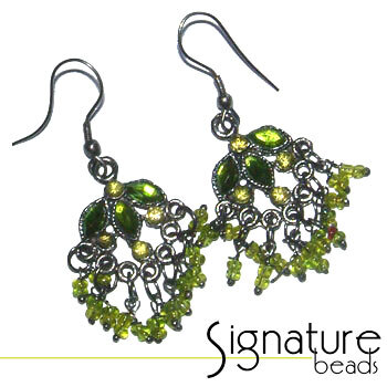 Olivine and Black Nickel  Beaded Earrings with Diamantes