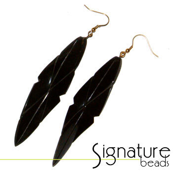 Antique Gold and Resin Leaf Shaped Earrings