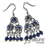 Antique Silver and Dark Blue Floral Drop Earrings