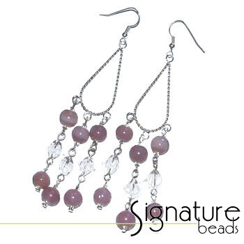 Silver Plated Chandelier Earrings with Lilac Alabaster Beads and Czech Crystals