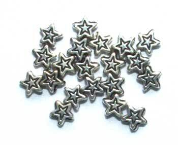 Metallised Plastic 5mm Star Beads