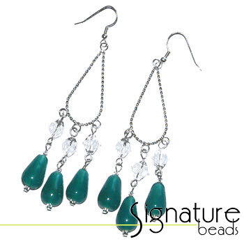 Silver Plated Chandelier Earrings with Teal Alabaster Beads and Czech Glass Crystals