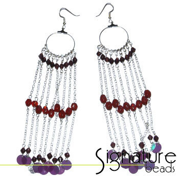 Silver Long chain hoop earrings with Red and Purple Beads