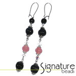 Silver, Black and Pink long drop earrings