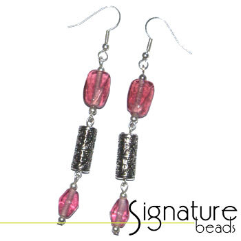 Earrings with Rose Pink Beads and Silver Cylinder