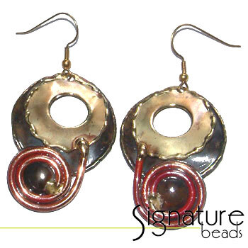 Creative Copper African Made Round Scroll Earrings