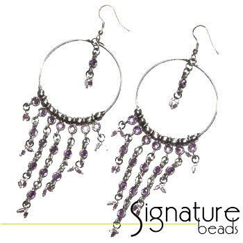 Silver Chandelier Hoop Earrings with Light Amethyst Diamantes