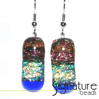 Dichroic Glass Earrings with Pink and Blue Tones