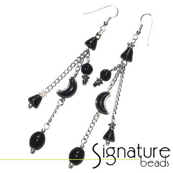 Black and Silver Lunar Earrings