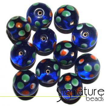 12mm Round Blue Glass Beads with Green and Orange Flower