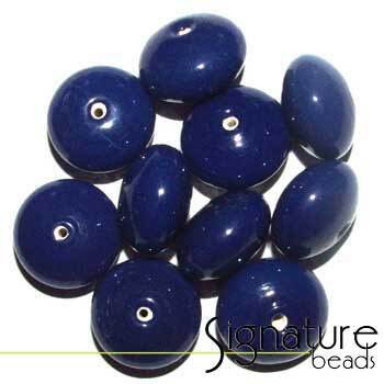 Dark Blue Glass Rondelle Beads