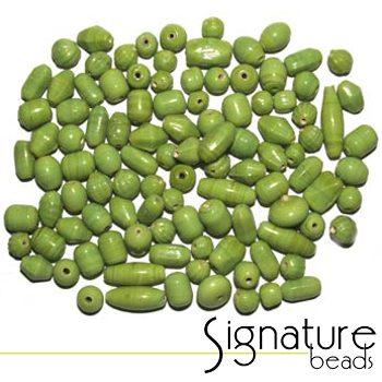 Lime Green Opaque Glass Bead Mix