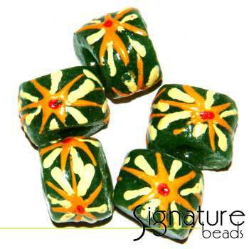 Green African Krobo Safari Beads with Floral Design
